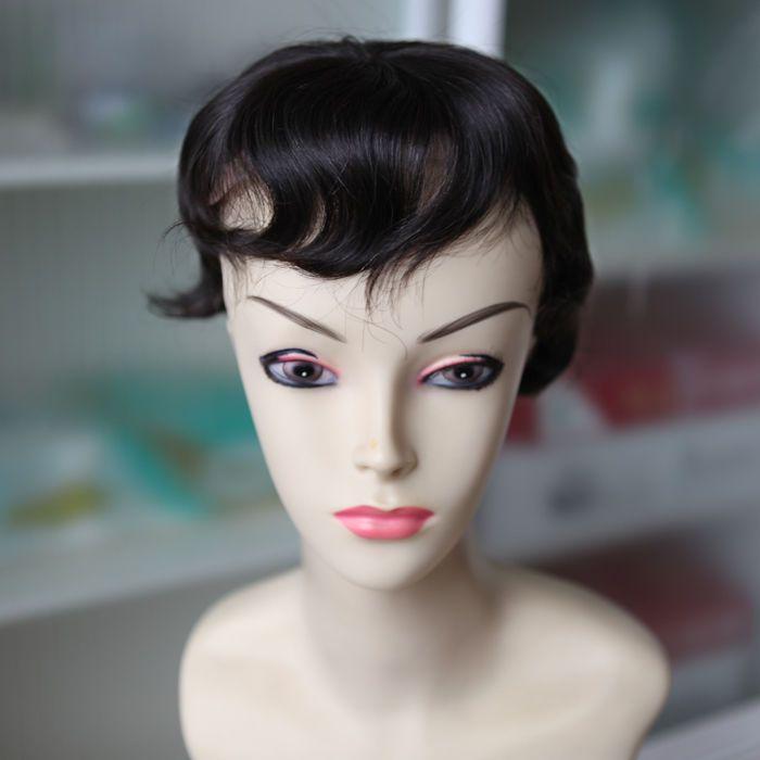 "Custom Brazilian #1B Wavy Integrated Net with Lace Front Human Hair Toupee 4"" #ValmurrWigsWeftsAndMore #FullHeadToupee #All"