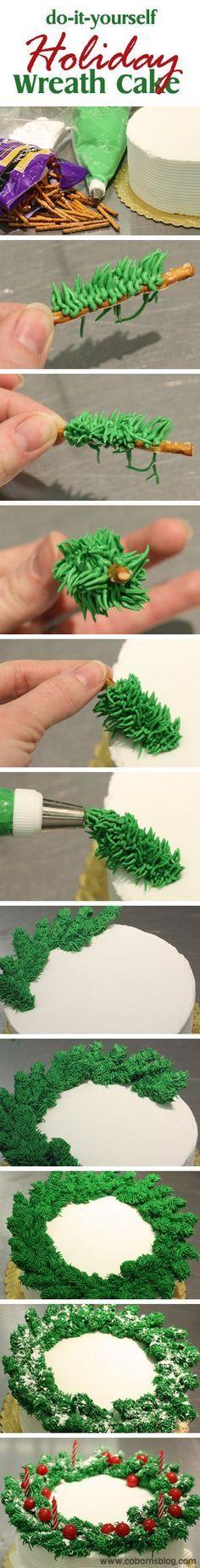 www.cobornsblog.com - DIY Holiday Wreath Cake - Step By Step