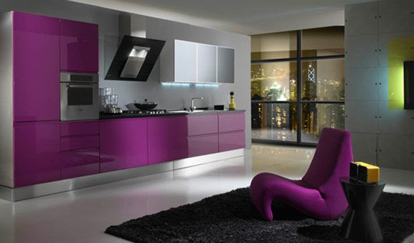 Chic Purple Kitchens: Seductive Fuschia Kitchen Cabinets And Modern Design ~ 3meia5.com Kitchen Inspiration