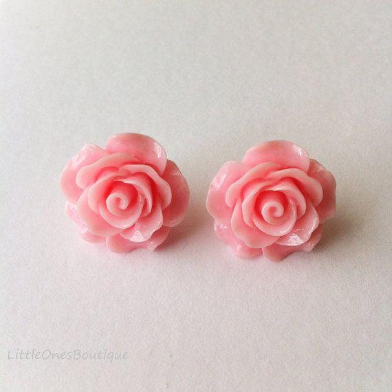Resin Rosette Earrings Post & Back Simple by BoutiqueLittleOnes.