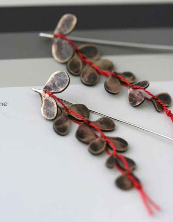 - Brass Vine Earrings