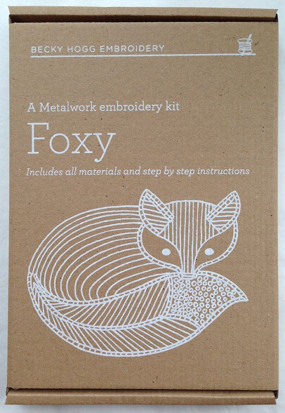 Metalwork Embroidery Fox Kit by BeckyHoggEmbroidery on Etsy