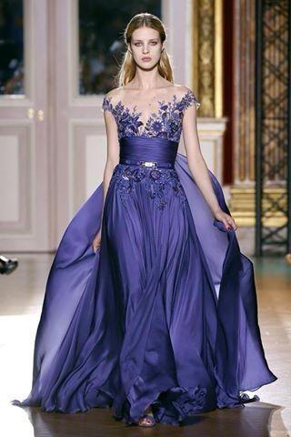 Uzun Mavi Dantelli Şifon Abiye Elbise