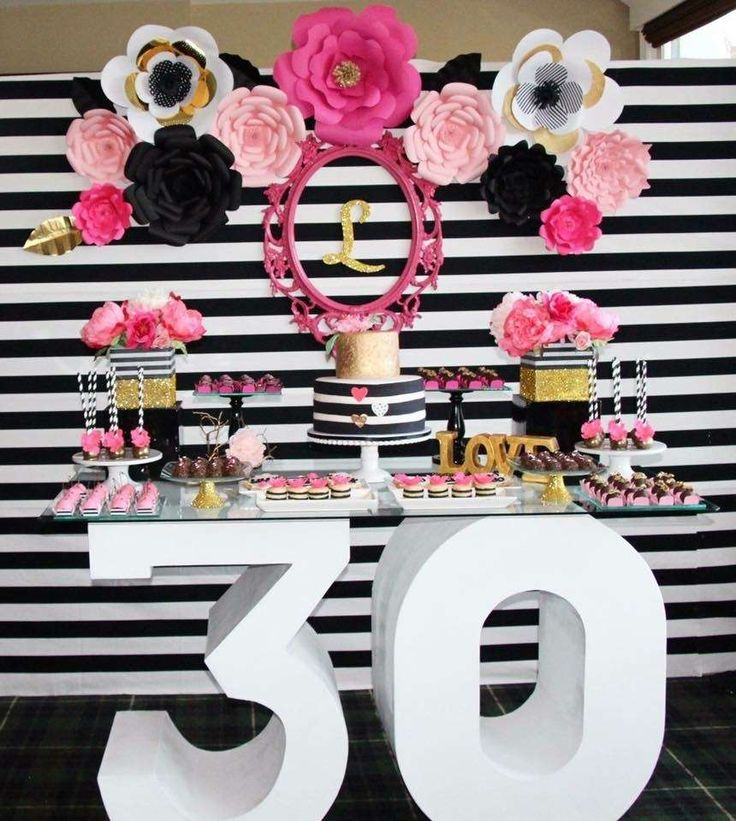 Wow! What a great 30th birthday black, white, pink and gold  birthday party! See…