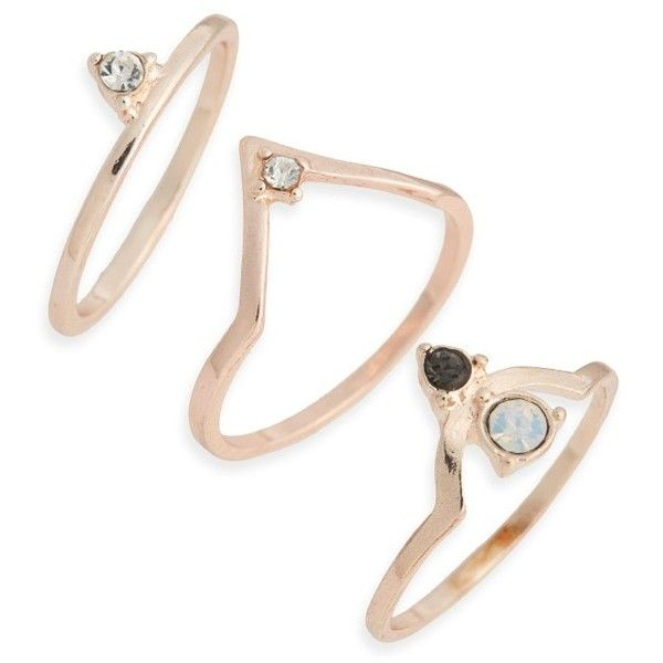 Women's Topshop Supernova Set Of Three Stacking Rings found on Polyvore featuring jewelry, rings, accessories, aneis, rose gold, stackable rings, rose gold rings, topshop jewelry, red gold jewelry and sparkle jewelry