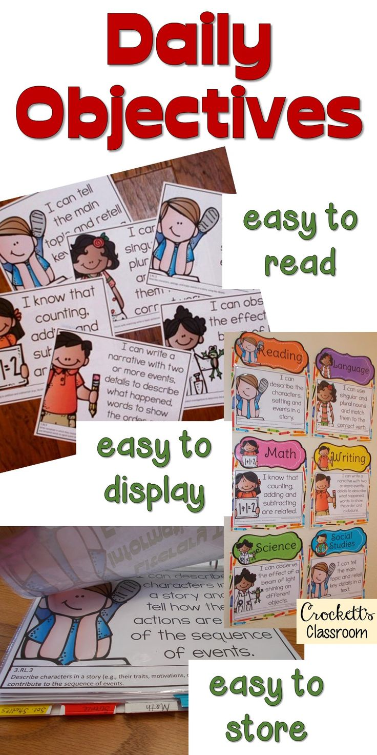 Need to display your daily objectives or standards?  These Common core posters are easy to read, easy to display and easy to organize and store.