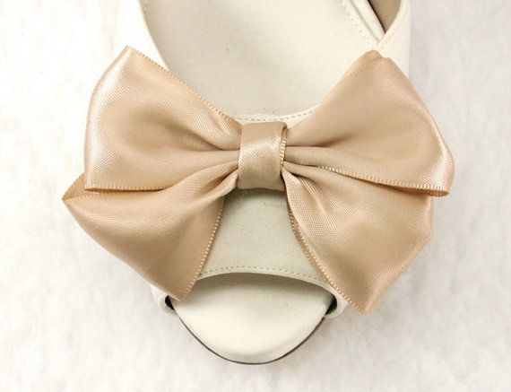Couture Bridal Shoe Clips Gift Beige Bow Shoe clips by daisyclub, $25.00