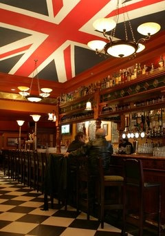 What a huge Union Jack flag in this very cool British themed Pub in Cleveland, Ohio called The Pub.
