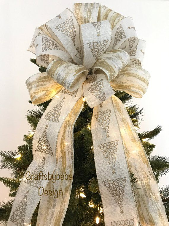 Christmas Tree Topper Christmas Decorative Bow Xmas Tree Topper Gold And Silver Chr Xmas Tree Toppers Christmas Tree Toppers Silver Christmas Decorations