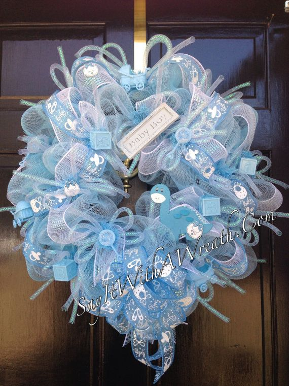 New..Handmade Deco Mesh Wreath Baby Boy by YourPartyStore on Etsy