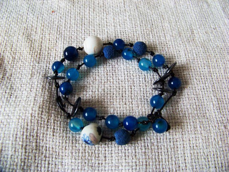Blue bracelet. Boho. Vulcanic rock, hematite, blue agate, coral.