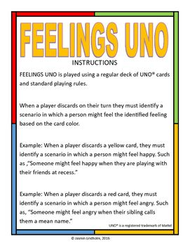 Turn the classic game of UNO into a counseling game that can help teach students about feelings! Print the poster page and use as a visual to remind kids of matching feelings to card colors.
