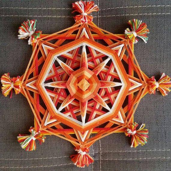 Mandala Ojo de Dios  Projet Chakra  Orange  par BeHappyMandalaShop