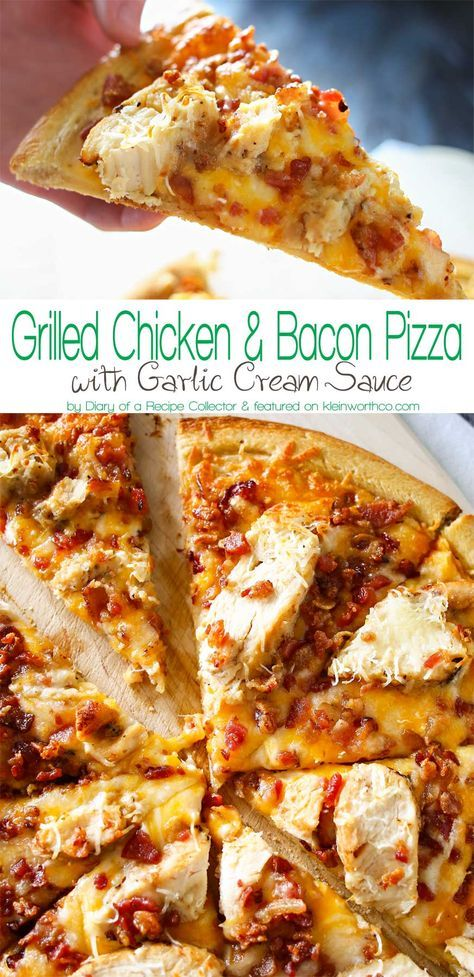 Grilled Chicken & Bacon Pizza with Garlic Cream Sauce is the best homemade pizza recipe EVER! Better than any frozen, take & bake or delivery. WOW! AMAZING! Don't miss my tip for quick & easy prep time too! on http://kleinworthco.com