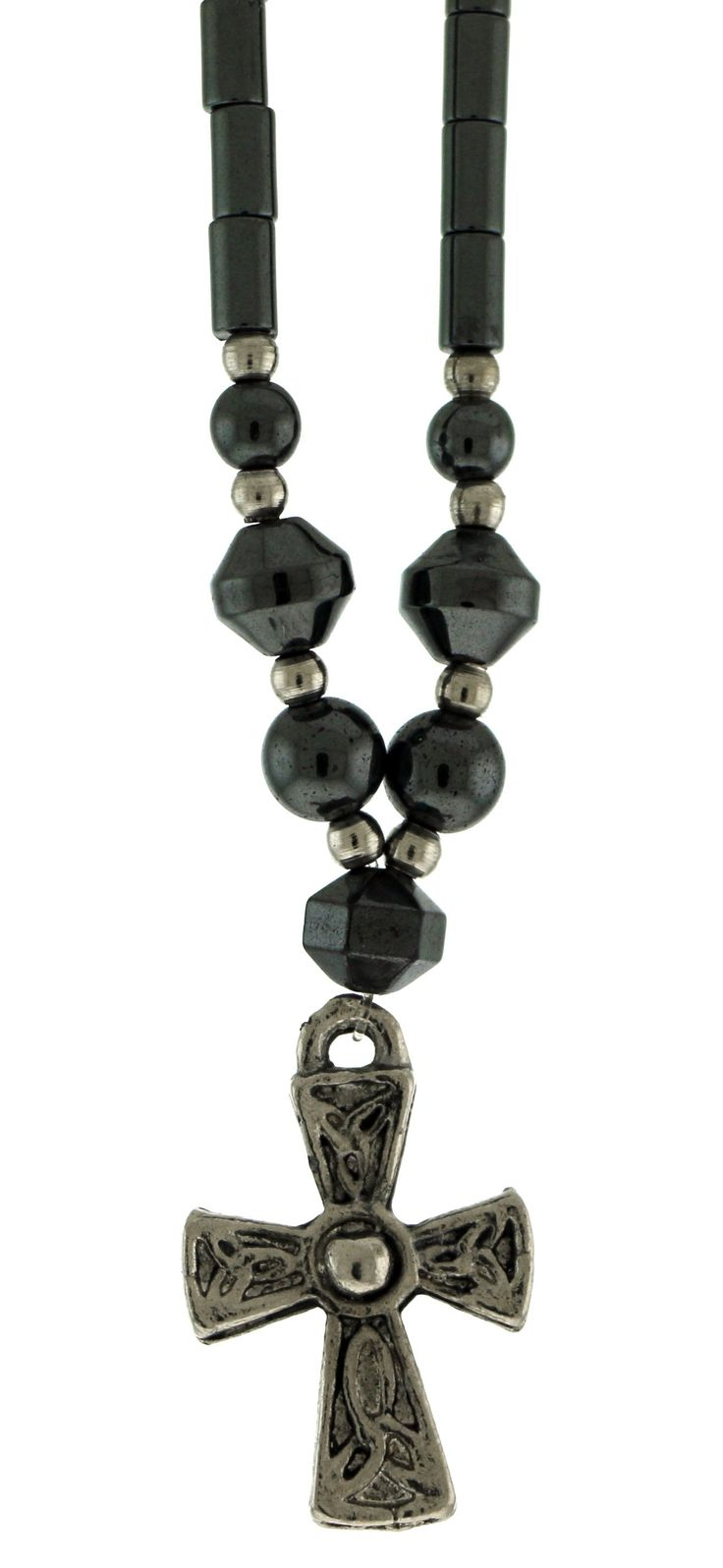 Beaded Hematite Necklace With Silver-Tone Cross Charm HN05