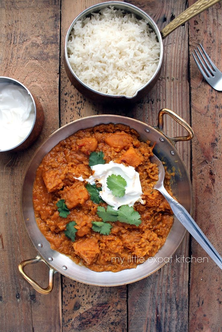 My Little Expat Kitchen: Spicy red-lentil and butternut squash dahl with basmati rice and sheep's milk yoghurt