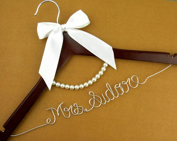 Wedding Hanger lace bow wire name Hanger  by haomaihanger on Etsy, $9.99