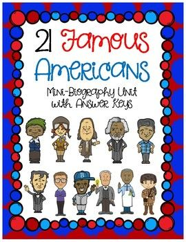 This is a mini-biography unit featuring 21 famous Americans. Each page has wonderful content with either questions, puzzles or writing activities to reinforce. These important Americans include: Rosa Parks, Amelia Earhart, Theodore Roosevelt, Thomas Edison, Frederick Douglass, Harriet Tubman, Benjamin Franklin, Abraham Lincoln, John Deere, Martin Luther