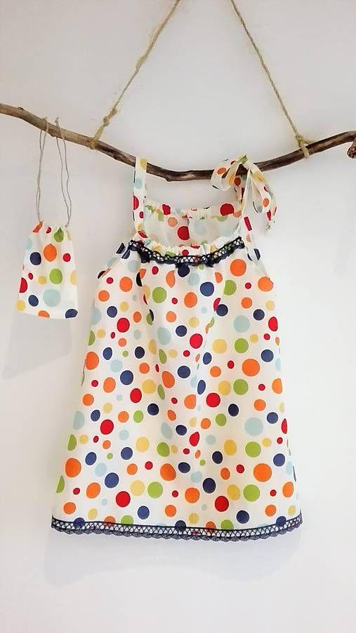 LuJo / Dievčenské bavlnené šaty s vreckom na tajomstvá- farebná bodka s krajkou