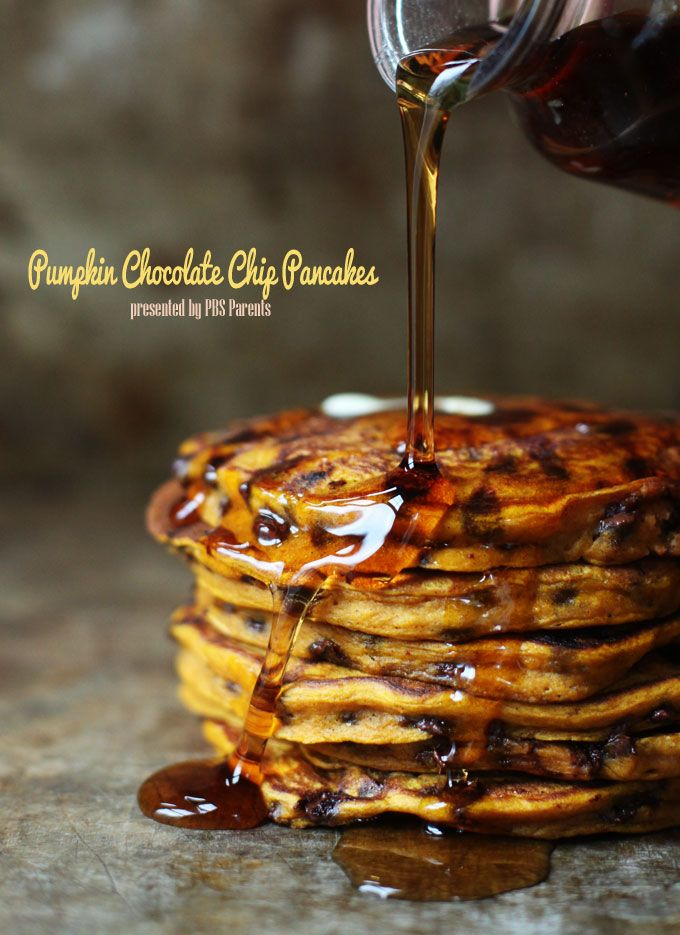 Pumpkin Chocolate Chip Pancakes--Looking for a special breakfast to celebrate the season? Here you go!