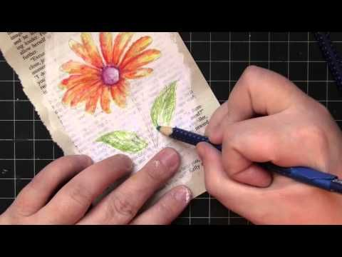 Combining stamps and watercolor painting - PB&J
