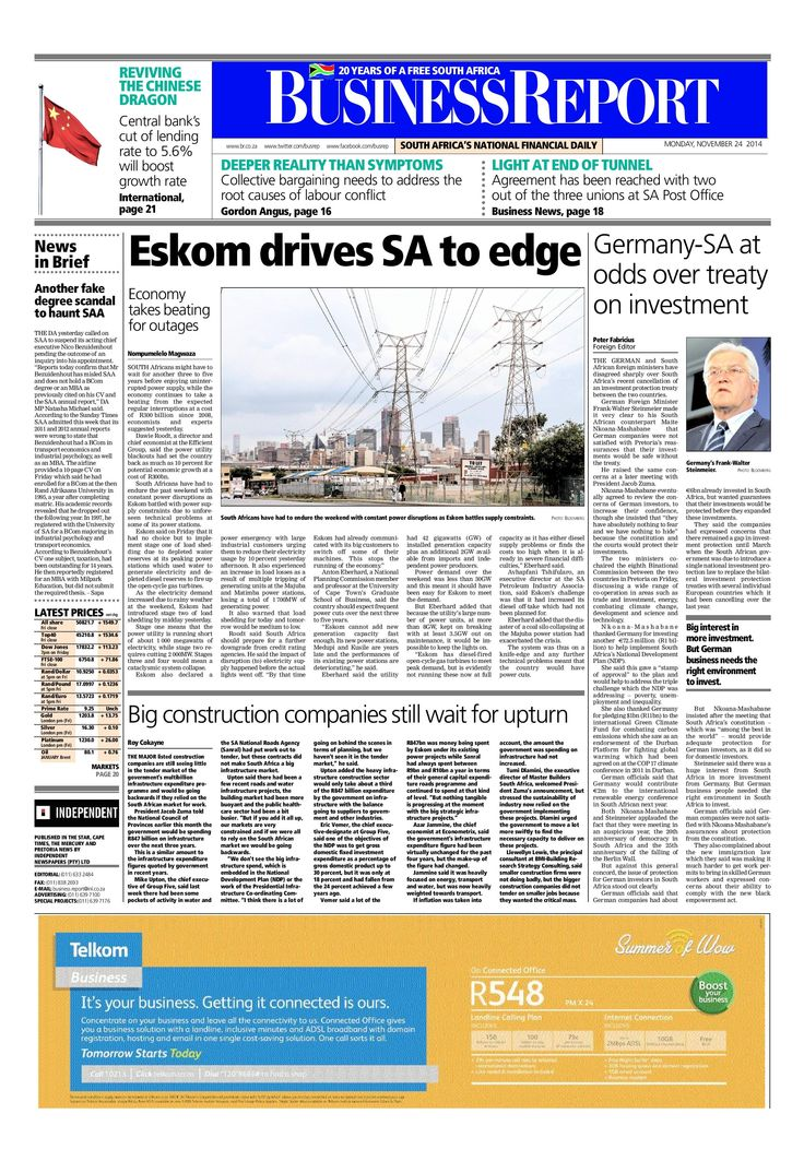 Today's Business Report newspaper front page (November 24, 2014) deals with Eskom's latest meltdown, Germany and South Africa at odds over a treaty on investment and big construction companies still wait for an upturn.  To read these stories and more click here: http://www.iol.co.za/business