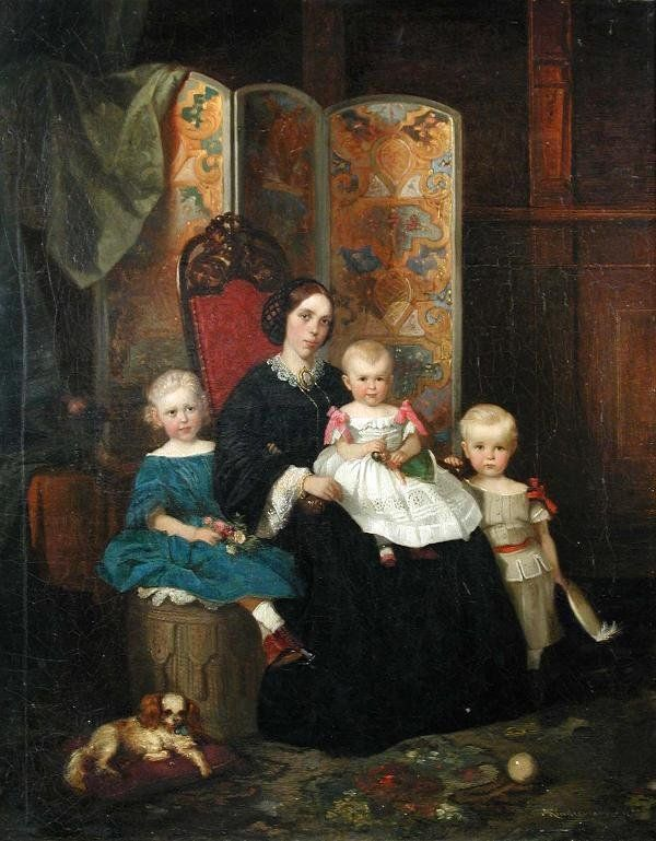 """1861. Great painting w/ lots of costume detail. Adolph Diedrich Kindermann (German, 1823-1892) A Mother with her Three Children and their Spaniel by a Decorated Folding Screen in an Interior signed lower right """"A Kindermann 1861"""" oil on canvas 58 x 46cm:"""