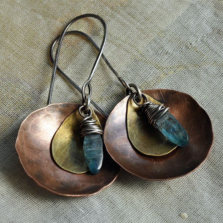 From etsy Handmade Hammered Copper Disc with kyanite Drop Earrings In Stock • $46 Etsy by nekedesigns on Etsy See this on Etsy