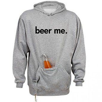 Beer Me Hoodie - This comfy hoodie features a pouch to store your beer hands-free, plus a built-in beer bottle opener.