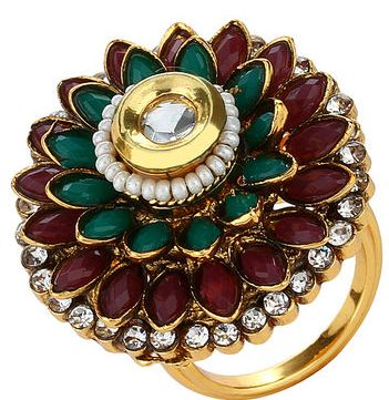 Buy Multi Colour Round Shape Ring @ Rs.599.