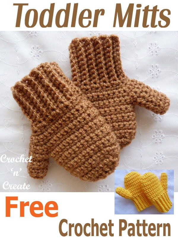 Crochet Toddler Mitts Free Crochet Pattern | Baby things 2 | Pinterest