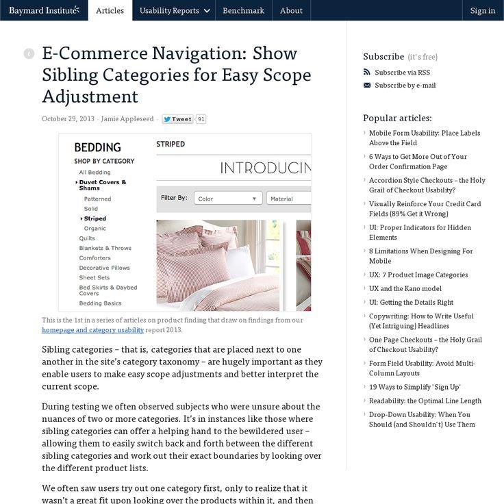 E-Commerce Navigation: Show Sibling Categories for Easy Scope Adjustment