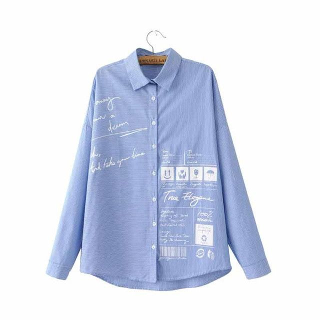 Women cute letters icons print oversized striped shirts blue long sleeve loose blouse office ladies fashion brand tops