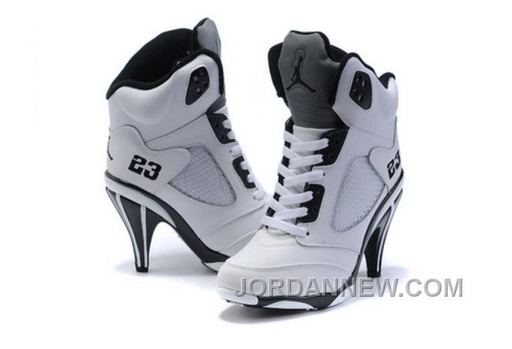 http://www.jordannew.com/womens-nike-air-jordan-5-high-heels-shoes-white-black-authentic.html WOMEN'S NIKE AIR JORDAN 5 HIGH HEELS SHOES WHITE/BLACK AUTHENTIC Only $99.10 , Free Shipping!
