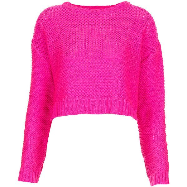TOPSHOP hot neon pink Knitted Tape Yarn Crop Jumper ❤ liked on ...