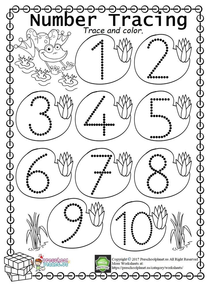 Easy Number Trace Worksheet (1-10)   Number tracing ...