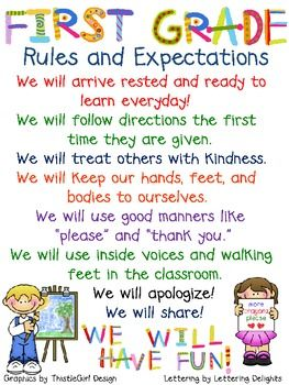 Display this First Grade Rules and Expectation chart in your classroom to show your students what behavior is expected of them.
