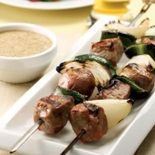 Steak & Potato Kebabs with Creamy Cilantro Sauce.   (Could use chicken too)