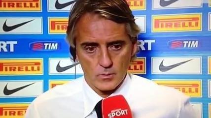 Mancini irritato nel dopo partita se la prende con la conduttrice