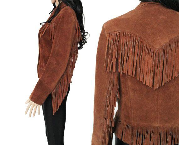 Suede Fringe Jacket Brown Leather Western Boho Hipster
