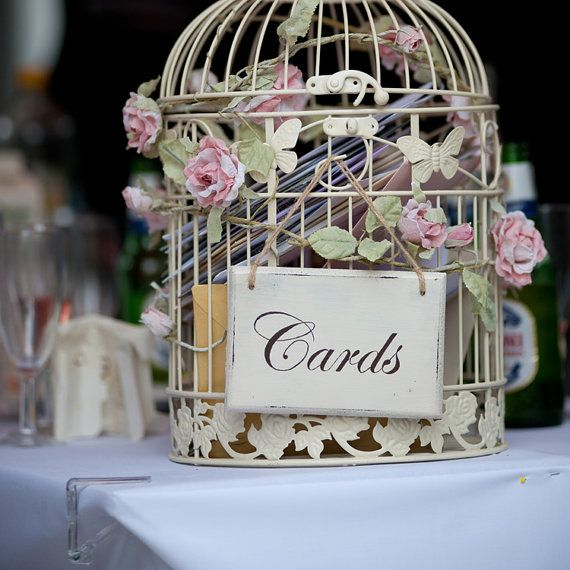 Handpainted wedding card birdcage post box sign 9 colours via Etsy