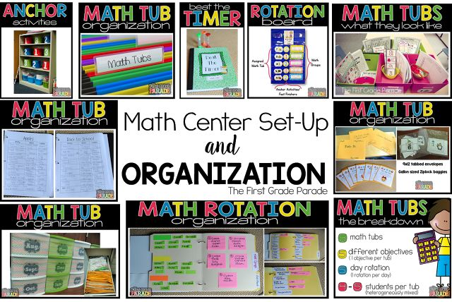 Math Center Set-Up. For 1st grade but I love how she organized everything