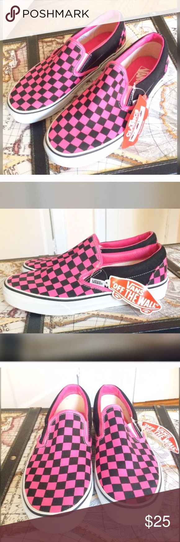BACK IN Nwt Vans off the wall checker sneakers NWT Vans Off the Wall pink and black checkered sneakers. Various sizes. Vans Shoes Sneakers
