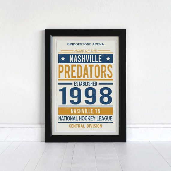 Nashville Predators - Vintage Style Art Print - Screen Printed on Paper   ABOUT THIS PIECE This is a hand pulled screen print. Due to the hand crafted nature of screen printing where each pull is unique, slight variations naturally occur. Some prints have a more distressed look where less ink passes through the screen. This varies from print to print. This is our original design. *This listing is just for the print, no frame or mat is included*   PAPER Prints are on 90 lb Stonehenge…