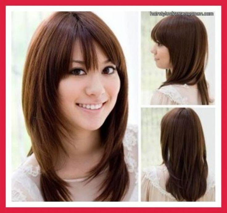 Durchschnittliche Lange Frisur Fur Dickes Haar Und Runde Gesichter Dickes Durchschnittliche Fri Hair Styles Medium Length Hair Styles Medium Long Haircuts