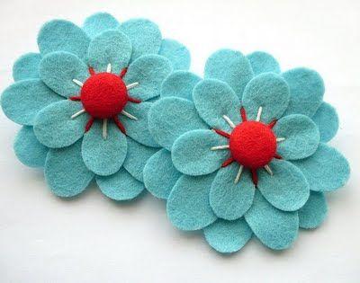 aqua and red flowers.