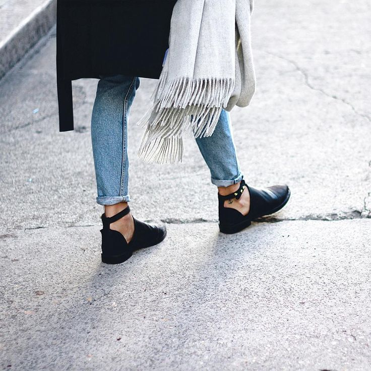 grey scarf, black coat, boyrfriend jeans and ankle strap loafers