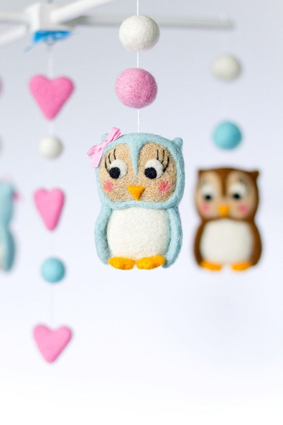 Owl Baby Mobile Crib Mobile Baby Girl Mobile Nursery by OolyWooly
