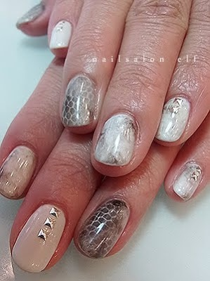 Neutral Snake and Marble Print Nails