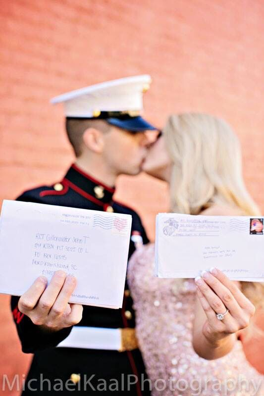 Letters from boot camp. Marine Corps engagement pictures.